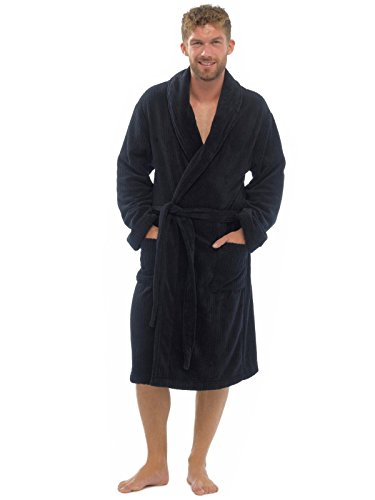 Mens Luxury Soft Comfy Fleece Dressing Gown Robe Nightwear