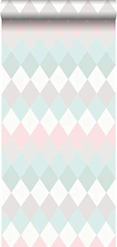 53% Leinen (Tapete Karomuster in Leinen-Optik Pastell Mintgrün, Puderrosa, Meeresgrün und Hellgrau - 148679 - von ESTAhome.nl)
