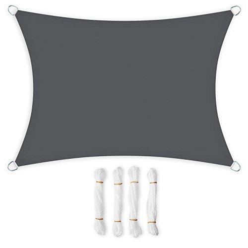 Songmics 3 x 4 m tenda parasole vela ombreggiante in pes, protettiva dal sole, resistente alle intemperie, in poliestere, grigia gsh34gyv1