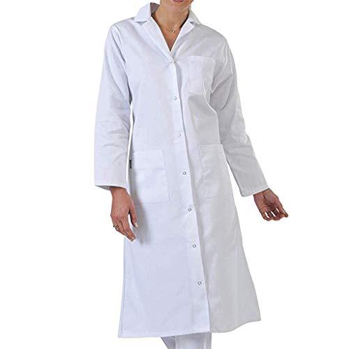Deloito Damen Baumwolle Outwear Herren Freizeit Dünne Trenchcoat einfarbig Windjacke Front Wrap Weißer Mantel Revers Lange Arbeit Jacke (Weiß-C,XXX-Large) (Winter-wrap-mantel)
