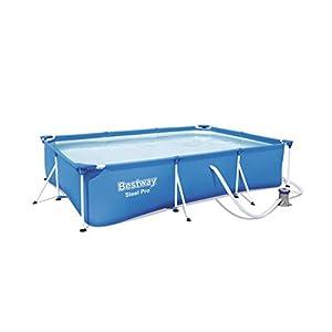 Bestway 56411 – Piscina Desmontable Tubular Infantil Deluxe Splash Frame Pool 300x201x66 cm Depuradora de cartucho de 1…