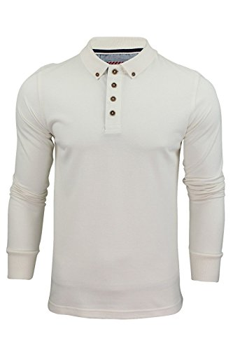 Brave Soul Herren Langarm Polo T-Shirt Neu Lincoln Piquet Baumwolle Kragen Top - Baumwolle, Naturfarben, 100% baumwolle, Damen, XX-Large (Button-up-shirt Kragen)