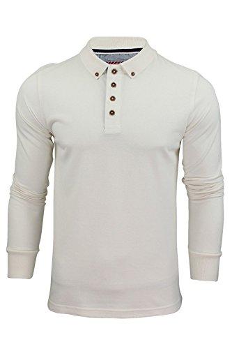 Brave Soul Herren Langarm Polo T-Shirt Neu Lincoln Piquet Baumwolle Kragen Top - Baumwolle, Naturfarben, 100% baumwolle, Damen, XX-Large (Kragen Button-up-shirt)