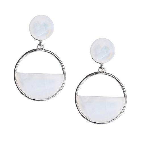 ZHWM Ohrringe Ohrstecker Ohrhänger Charming Resin Round Drop Earrings 2 Artikel Pink & White Girls Geschenke Ohrringe Neuheiten Modeschmuck, A