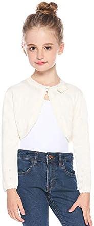 Hawiton Chaqueta de Punto niña Invierno, Suave algodón Cárdigans Manga Larga Shrug Bolero Jersey de Punto,Lige