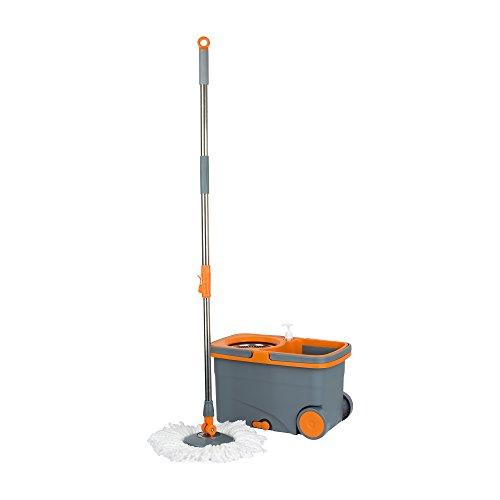 Casabella Spin Cycle Mop with Bucket - Graphite/Orange by Casabella