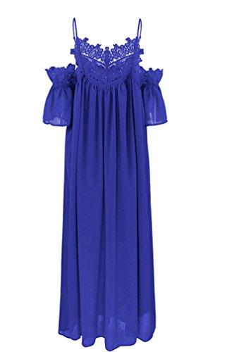 Arkind Kleid Damen Sommer Kleid Bretelles Backless Kleid Lace Kleid Böhmen Kleid Strand Blau