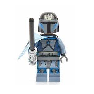 LEGO Star Wars - Minifigur Pre Vizsla aus Set 9525 + seltene transparent hellblaue Radarscheibe 3x3 Noppen