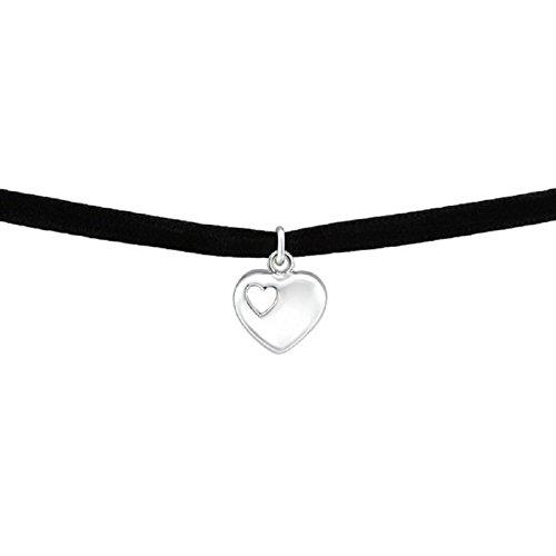 Laimons Damen Choker-Halskette Herz im Herzen Schwarz Samt Sterling Silber 925