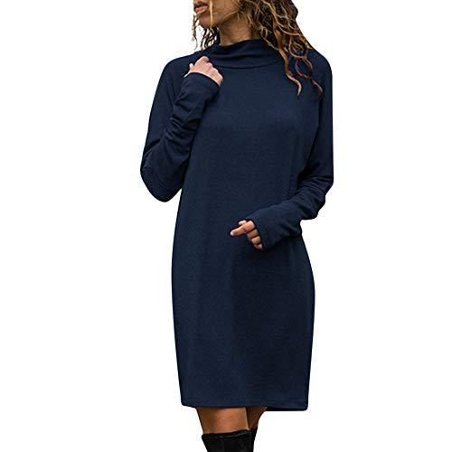 Mymyguoe Sweatshirt Minikleid Damen Langarm Minikleid Solide Kleid Rundhals Longs Tops Frauen Stretch Etuikleid Bleistiftkleid Kurz Mini Kleid Longshirt Partykleid Ballkleid Abendkleid