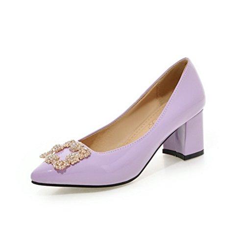 AllhqFashion Femme Mosaïque Verni à Talon Correct Tire Pointu Chaussures Légeres Violet