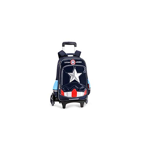 Fnxx Schultasche Kinder Schultasche - Grundschule Trolley Bag 1-3-4 Level US-Team Iron Man Boy Dreirad Klettern Kinder Schultasche (Color : Blue, Size : 30 * 14 * 42cm)