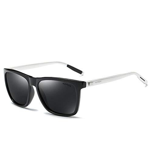 Ahan outdoor Polarisierte Sonnenbrille Damen polarisierte Sonnenbrille Aluminium Magnesium Bügel, schwarzer Rahmen grau Stück Silberne Beine, AORON