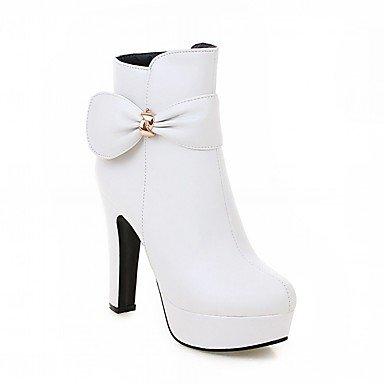 Rtry Femmes Chaussures Pu Similicuir Automne Hiver Confort Nouveauté Mode Bottes Chunky Bottes Talon Bout Rond Bottines / Bowknot Cheville Bottes Pour Parti Us5 / Eu35 / Uk3 / Cn34