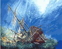 Malen Nach Zahlen Sinkendes Schiff 3D Unter Seemalerei Durch Zahlensegeltuchmalereihauptdekorfarbe Durch Zahl 40X50Cm Hauptdekoration - Sinkende Schiff