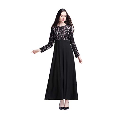 a15fc81047 PRINCER Women Muslim Openwork Lace Robe Malaysian National Style Long Dress  Maxi Dress Long Sleeve Baggy