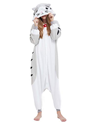 Jumpsuit Onesie Tier Karton Kigurumi Fasching Halloween Kostüm Lounge Sleepsuit Cosplay Overall Pyjama Schlafanzug Erwachsene Unisex Grau Tabby Katze for Höhe ()