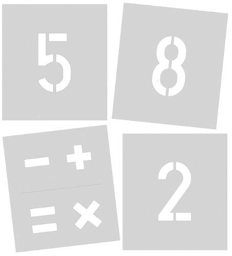 Signierschablone 250 mm Symbolgröße, Zahlen 0 - 9, Sonderzeichen %, +, =, -, x, gesamt 11 Schablonen