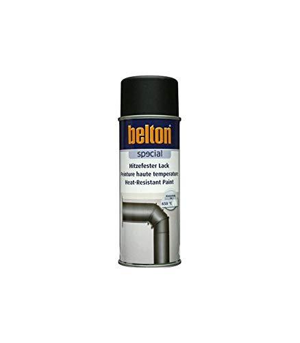 NOIR Hte Température 650 °C (BELTON) (Bombe Peinture 400 ml) - Peinture Auto K resistante Hautes températures entre 300 et 800 degrés C pour applications diverses.