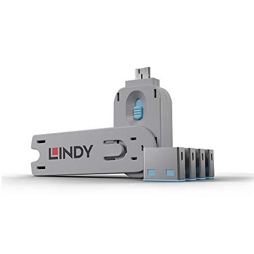 LINDY 40452 - Kit Bloqueador de puertos USB - Llave y 4 bloqueadores -