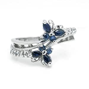 100% Genuine Nature Sapphire 925 Sterling Silver 18K 18ct White Gold Plating 2 Little Butterfly Ring Gem Fine Jewellery-SizeZ