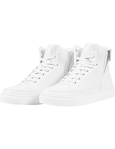 Urban Classics Zipper High Top Shoe, Unisex-Erwachsene Hohe Sneakers, Weiß (White 220), 36 EU