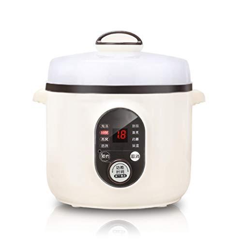 Arroceras Cocina eléctrica inteligente, mini olla de cerámica interna de 1.0L, cocina de arroz automática para el nido de pájaro guisado, sopa, nutrición para bebés, papilla, huevos al vapor, dieta me
