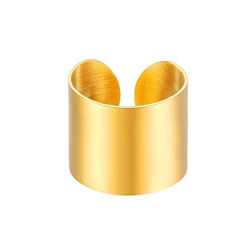 PROSTEEL 18K vergoldet Unisex Ring 17mm breit massiv Bandring hochglanzpoliert Offener Ring Damen Herren Modeschmuck Geschenk für Valentinstag Jahrestag