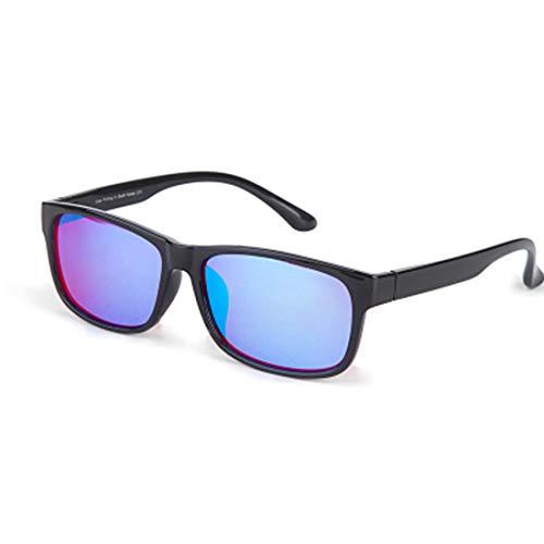 Red Green Colour Blind Glasses für Männer Frauen korrektive Achromatopsie, Rot-Grün-Blindheit, Farbschwäche, Mild Medium Grade, Black Frame,Bluefullframe