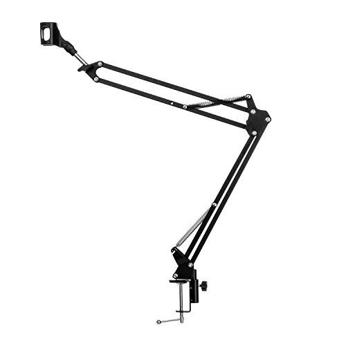 Preisvergleich Produktbild Malone ST-1.2 - Mikrofonarm,  Mikrofonhalterung,  Lampenhalter,  für Tischplatten oder Regale,  Klemmschraubbefestigung,  Tragkraft 1, 5 kg,  Universal-Mikrofonklemme,  schwarz