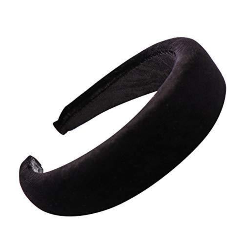 YWLINK Mode Samt Sport Haarband Volltonfarbe Damen Haar Kopfband Einfache SüßE MäDchen Stirnband(A Schwarz,)