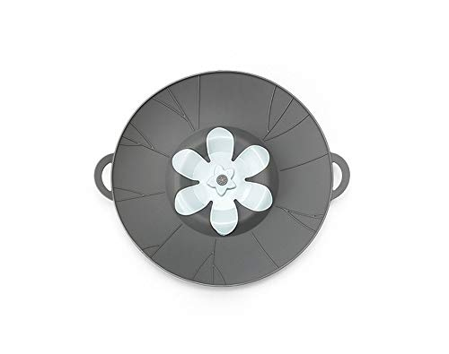 Fermare la fuoriuscita, coperchio per pentole e padelle con manici, progettato per adattarsi a tutte le pentole e padelle da 16-26 cm, coperchio in silicone senza bpa, facile da pulire (grigio)