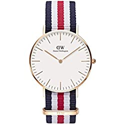 Daniel Wellington 0502DW - Reloj de cuarzo japonés, para mujer, con correa de nailon, color azul, rojo y negro