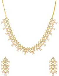 Voylla Traditional Brass With Yellow Gold Plated Cubic Zirconia Necklace Sets For Women - B077MBXVHL
