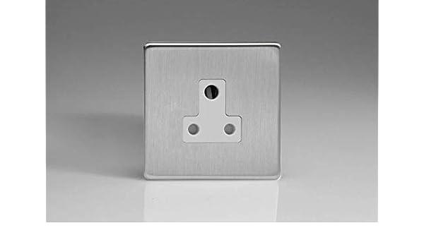 Varilight xdsrp 5AWS Screwless en Acier Brossé 1 Gang 5 A Round Pin Plug Socket