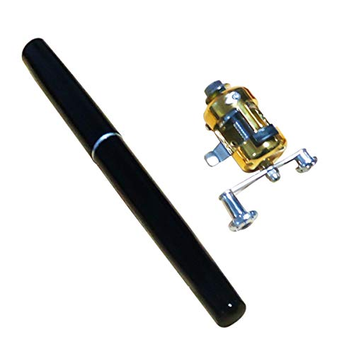 Nosii Mini Teleskop Pocket Fish Pen Tragbare Angelrute Pole mit Angelrolle (Color : Black)