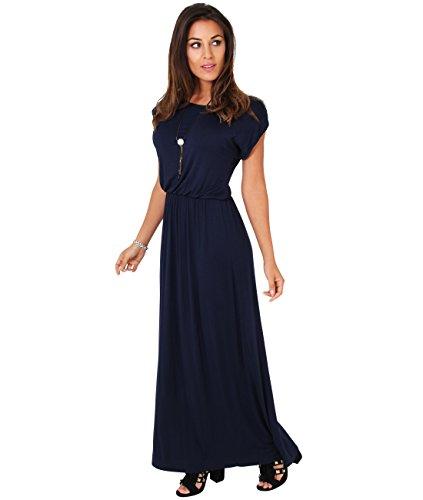 KRISP Damen Bodenlanges Kleid Jersey Maxikleid, Navy (G3269-NVY) Gr. 10 / 38