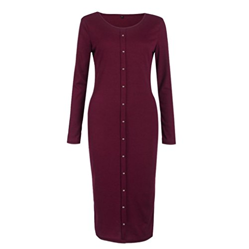Ineternet Femmes bouton manches longues robess BodyCon pull en tricot Automne-hiver Vin rouge