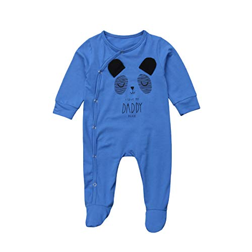 Baby Jungen Mädchen Footed Sleeper Baumwolle Animal Design Pyjamas Langarm Strampler Overall (3-9 Monate/80, Blau) -