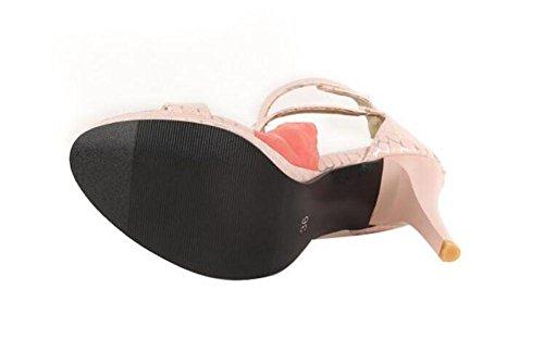 SHINIK Frauen Stein Muster High-Tops Sandalen Fine Peep Toe römischen Schuhe Ankle Strap Pumps light pink