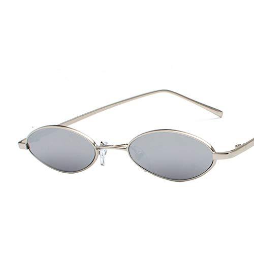 TIANKON Kleine ovale Sonnenbrille für Männer Retro Metall gelb rot Rahmen Vintage Brille kleine runde Brille Sonnenbrille für Frauen Geschenk,Silber