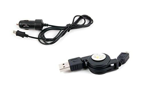 DURAGADGET KFZ-Ladestecker und USB-Kabel zum Aufladen und Datenübertragen für Mio Cyclo 500 | 505c | 505 und 315 | 310 | 305 | 300 Fahrrad-Navis -