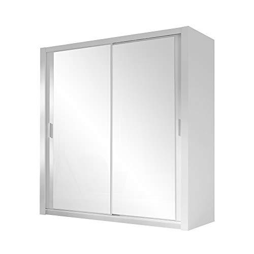 Selsey Ordu - Kleiderschrank / Schwebetürenschrank in Matt mit Spiegel (Weiß 150 cm) -