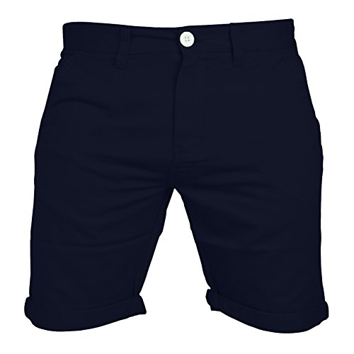Mens Chino Shorts Casual 100% Cotton Cargo Combat Half Pant Summer Jeans New (34, Navy)