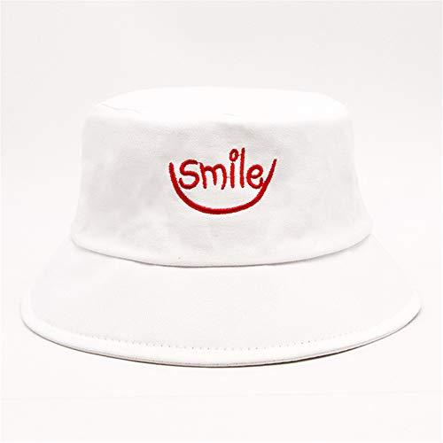hat-maihef ickerei Fischer Hut weiblichen koreanischen Flut Hut weiblichen Sommer koreanische Version des Sonnenhutes Teufel Topf Kappe Sonne Strand Hut Lächeln weiß L (58-60cm)