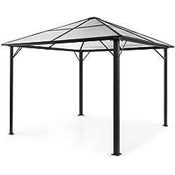blumfeldt Pantheon Solid Sky Pavillon - Gazébo, Pergola, Tube Aluminium, Surface Couverte : 3x3 m, 7,6x7,6 cm, Poteau d'angle avec 1,2 mm d'épaisseur, INOX, sans paroi latérale, Noir