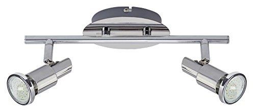 Trango 2-flammig LED Deckenleuchte TG2890-028-6W I Deckenspots I Deckenstrahler inkl. 2x 5 Watt GU10 LED Leuchtmittel 3000K warmweiß Spots sind schwenbar & drehbar (Fertig Glühlampe Wandleuchte)