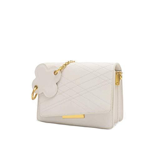 Damen Umhängetasche, Cloud Kette Umhängetasche Akkordeon Wildleder Handtasche Messenger kleine quadratische Tasche weiblich-White