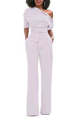 KISSMODA Damen Sexy One Shoulder Front Krawatte Solide Lange Hosen Overall Strampler Weiß Mittel