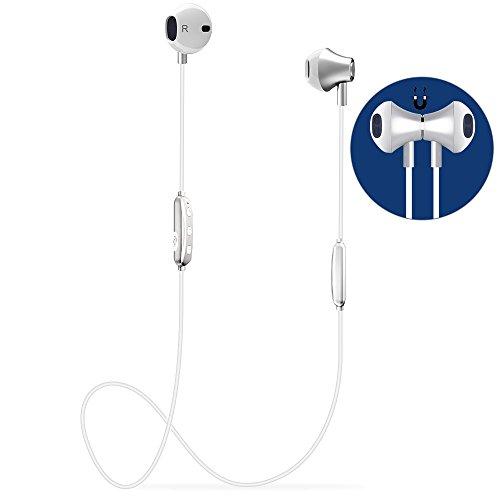 Auricular Manos Libres Bluetooth V4.1 Magnético Auriculares Deportivos con Duración 6-8 Horas, Cascos Bluetooth Inalámbricos con Cancelación de Ruido y Sweatproof IPX4 para iPhone y Android Smartphones
